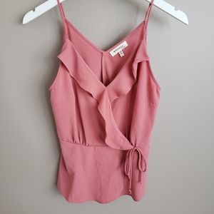 MONTEAU Faux Wrap Top Rose Pink With Ruffles